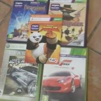 Xbox 360 Games, controller and Kinect.
