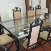 (h-d) Glass Top 8 Seater Dining Table with Chairs_R4800