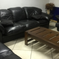 ((( 3 Piece Genuine Leather Lounge Suite )))
