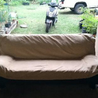 Black and beigh Sleeper couch