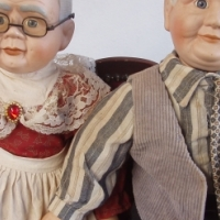 Grandma & Grandpa porcelain cloth dolls - Victorian Style Lounge Suite