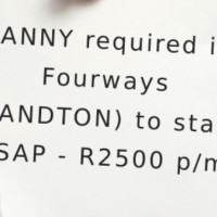 LIVE IN - NANNY required in Fourways (SANDTON) to start ASAP - R2500 p/m