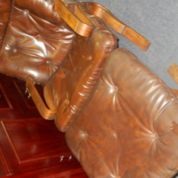 Synthetic Leather Chair with Footstool