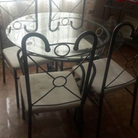 Round glass table with 4 chairs + 2 glass units for sale