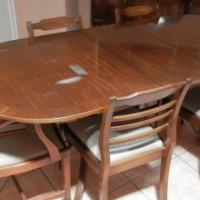 Antique dining room table, 4 chairs, 2 carvers & sideboard