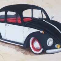 Black and white beetle painting