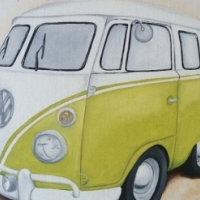 Yellow VW Beetle bus painting