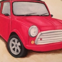Red Mini painting for sale