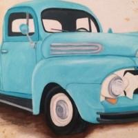 Blue pickup painting