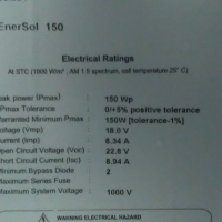 Enersol Solar panels 150w