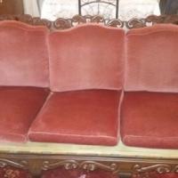Antique imbuia ball and claw lounge suite.
