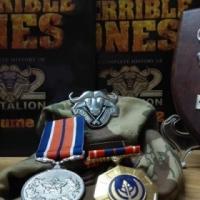 32 Batteljon ere skild, medaljes, beret en 2 groot volumes van die geskiedenis
