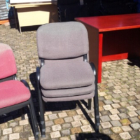 Maroon & grey Fabric chairs  Fabric does have some fade on  Special clearance price R150 each.