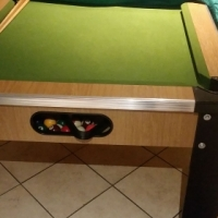 Pool table with triangle and pool balls with pool sticks