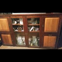 Vintage Imbuia and yellow wood display cabinet