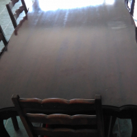 Antique dining table and double oven