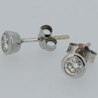 White gold Tube Diamond Earring Set 0.235ct Jsi2 + 0..25 ct si1