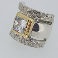 Silver and 9ct Gold Statement Ring