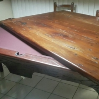 Railway sleeper dining table / pool table and chairs