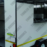 Hire  a 3 m fast food, mobile kitchen trailer to sell your products at a sport day.