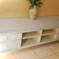 French Rustic chalk painted Vintage Sideboard/Tv unit