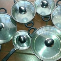 Stainless Steel Pot Set with glass lids for sale