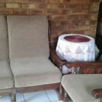 Genuine solid imbuia 7 seater lounge suite