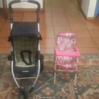 Baby doll pram and feeding chair