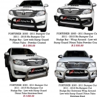 Toyota Fortuner 2005 till 2015 & 2016+ Nudge Bars + Towbar