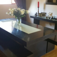 Dining table, benches, server and mirror