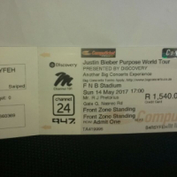 Justin Bieber Golden Circle Ticket