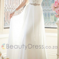 V-neck Beading White Backless Sweep Train A-line Sleeveless Dresses