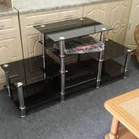 Brand new glass tv stand