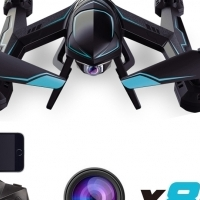 DRONE / QUADCOPTER / 720P FLYING WIFI HD CAMERA / PHONE ATTACHES 2 REMOTE CONTROL 4 BIRD'S EYE VIEW