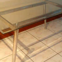 Glass and chrome table for desk / conference room - modern design