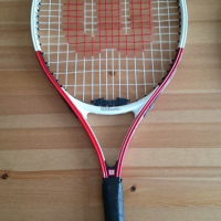 """2 Wilson Titanium tennis rackets 3 7/8"""" and 3 5/8"""" (with Roger Federer signature)"""