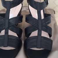 Miezko black leather sandal