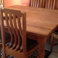 Solid Oak Dining Boardroom Table With 8 Matching Chairs Leather Seats
