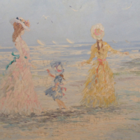 Lovely oil painting by Marie Charlotte for sale.