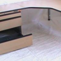 Beech wood L Shape desk plus optiplan