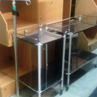 2 MEDICAL DRESSING TROLLEY + DRIP STAND