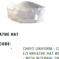 CHEFS UNIFORM - CHEFS EZI BREATHE HAT WHITE - WITH INTERNAL SWEAT BAND & ELASTIC BACK