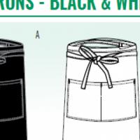 CHEFS UNIFORM - BLACK BAR APRON - CHEFS UNIFORM - WHITE BAR APRON