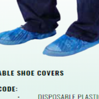 DISPOSABLE PLASTIC SHOE COVERS - BLUE - PACK OF 100