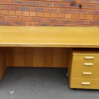 Oak office desk with mobile pedestal for sale