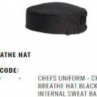 CHEFS UNIFORM - CHEFS EZI BREATHE HAT BLACK -  WITH INTERNAL SWEAT BAND &ELASTIC BACK