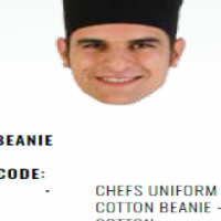 CHEFS UNIFORM - BLACK COTTON BEANIE - POLY COTTON