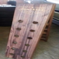 wooden champagne display case