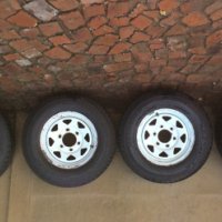 4 X 195 R14 Velocity Raptor tires with rims  for sale .