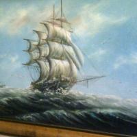 Framed oil on board by artist Benton
